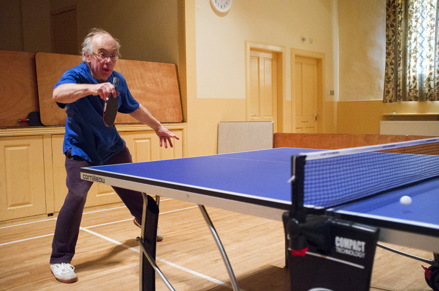 Table tennis action shot