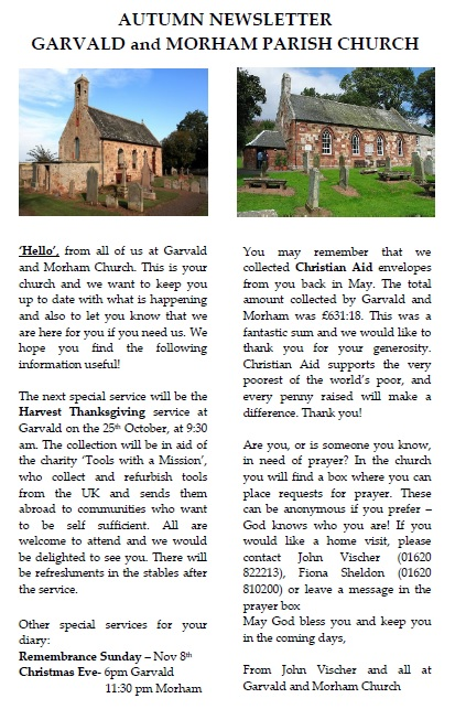 Garvald and Morham Church Autumn 2015 Newsletter