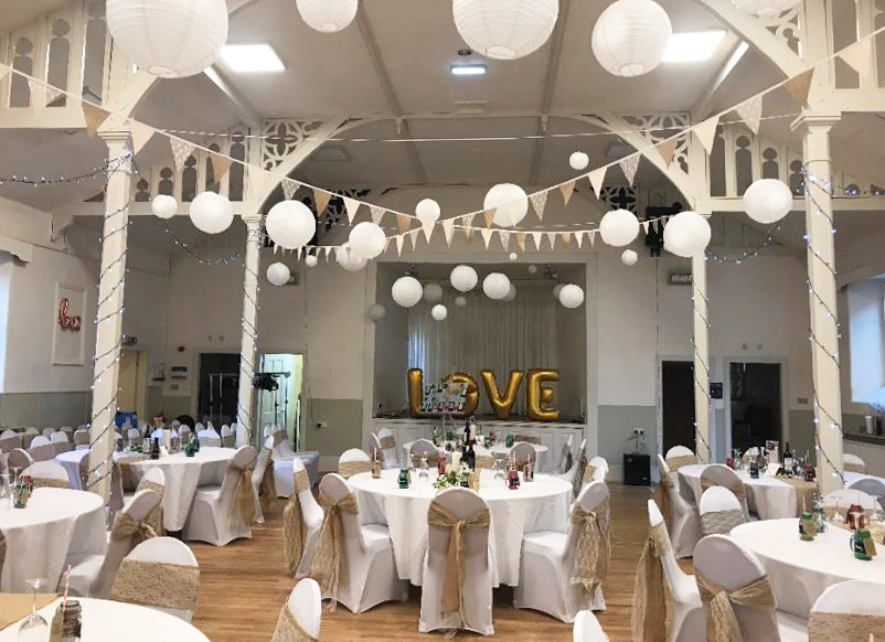 Hall set up for a wedding