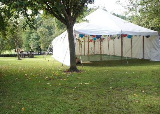 Wedding marquee in the orchard