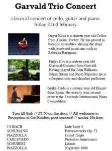 Concert 22 Feb 7-8pm Garvald Church