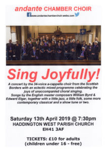 Andante choir Sat 13th April 7.30pm